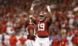 Reggie Ragland celebrates a big play for Alabama in 2015 Sugar Bowl versus Ohio State