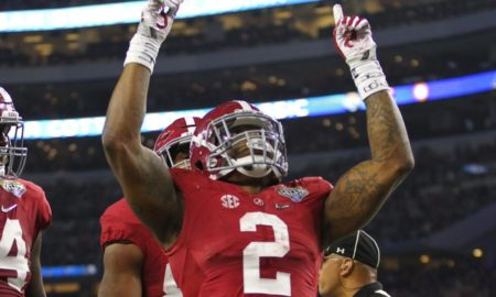 Derrick Henry celebrates a rushing TD versus Michigan State in 2015 Cotton Bowl