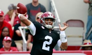 Apr 16, 2016; Tuscaloosa, AL, USA; Alabama Crimson Tide quarterback Jalen Hurts (2) passes during the annual A-day game at Bryant-Denny Stadium. Mandatory Credit: Marvin Gentry-USA TODAY Sports