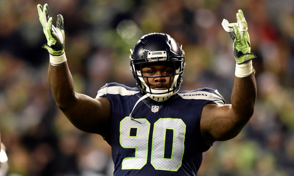 Jarran Reed celebrates a play with Seahawks in 2017 season