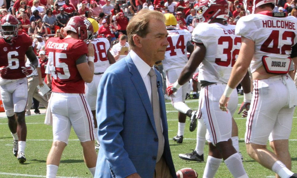 Nick Saban on the field for 2017 spring game