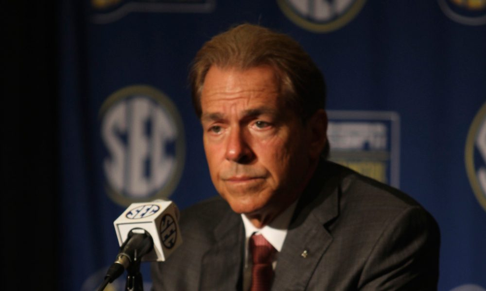 Nick Saban focused