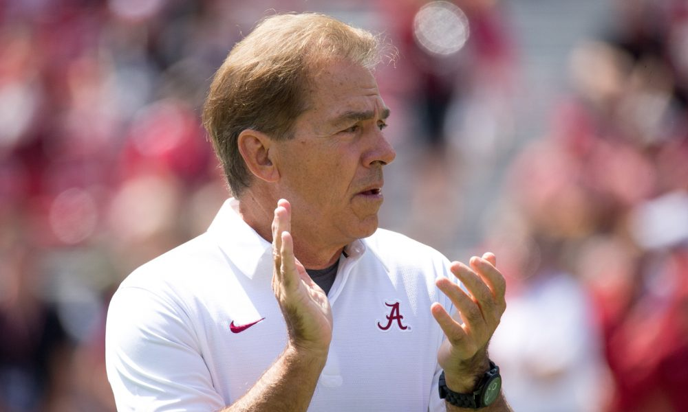 Nick Saban clapping at a game in 2017