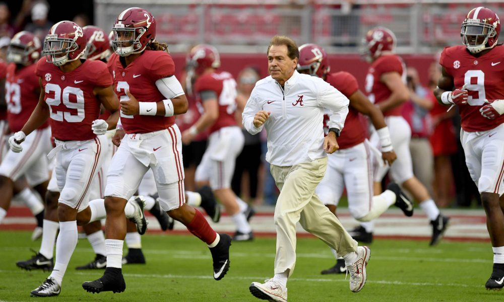 Nick Saban and Alabama run on to the field during 2017 season