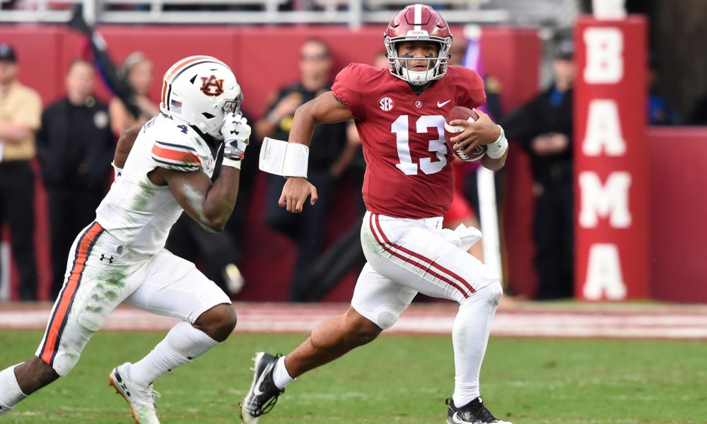 Tua running against Auburn