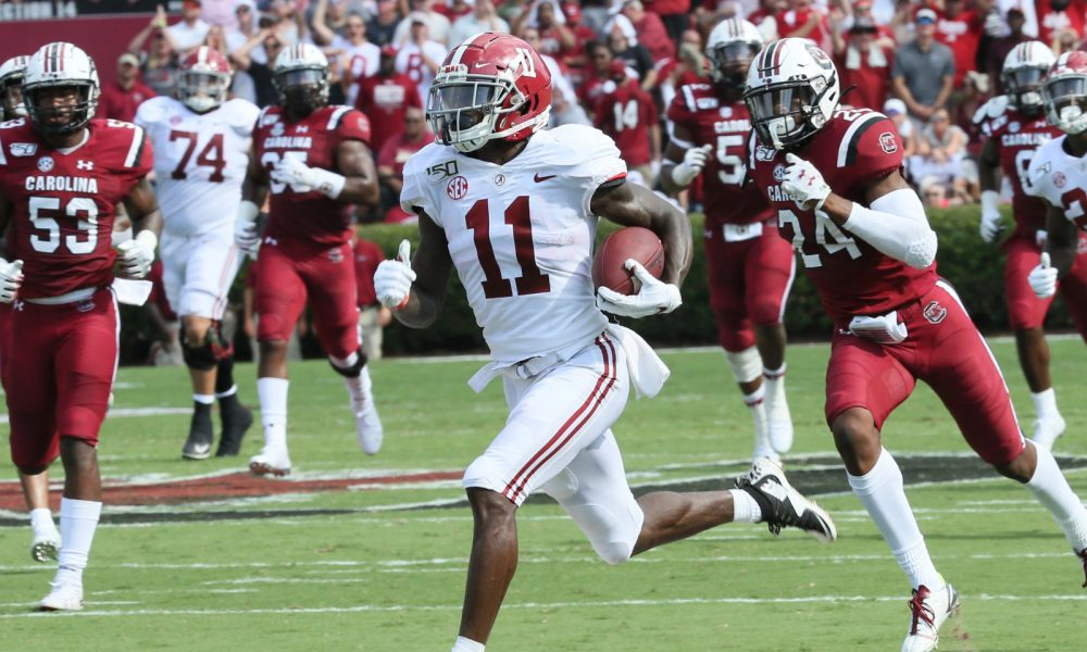 Henry Ruggs III runs the ball for an 81-yard touchdown for Alabama versus South Carolina in 2019