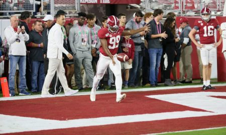 Ty Perine going through warmup punts before Tennessee game in 2019