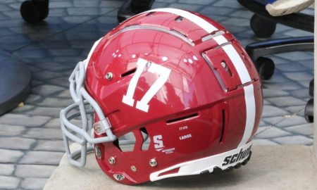 A look at an Alabama helmet on the ESPN set for Alabama vs. LSU in 2019
