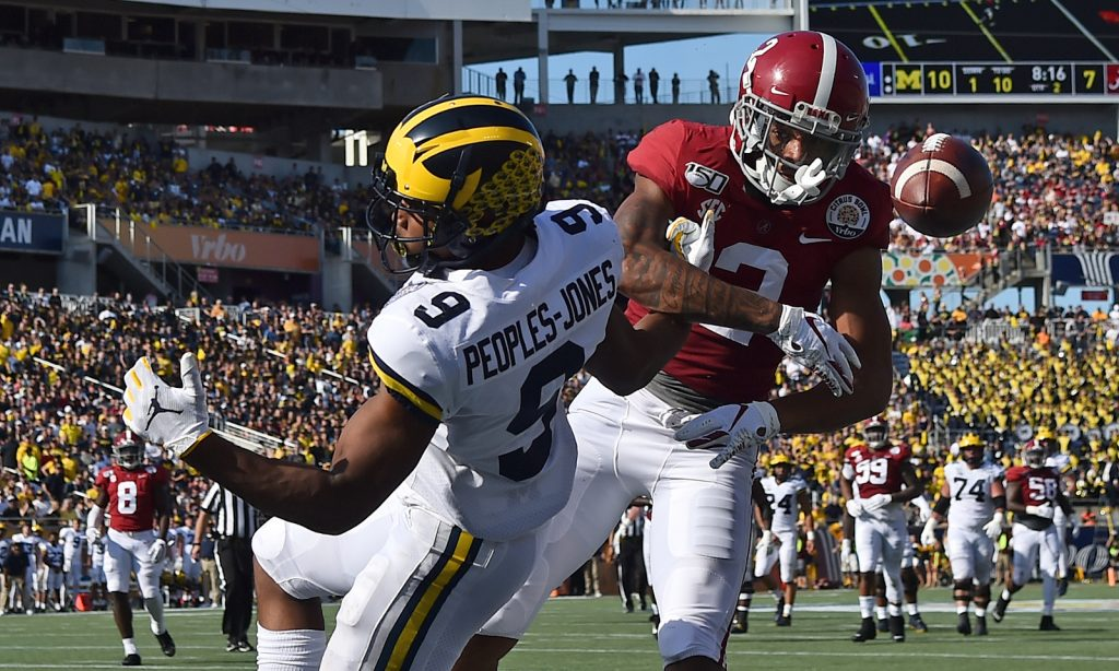 Alabama CB Patrick Surtain breaks up a pass versus Michigan in 2020 Citrus Bowl