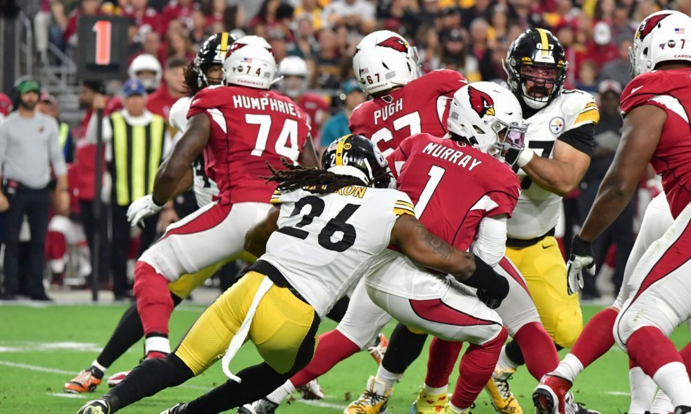 Mark Barron (No. 26) of the Steelers sacks Cardinals' QB Kyler Murray in 2019