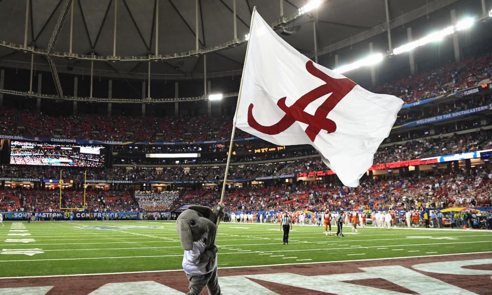 Alabama flag waving inside Georgia Dome for 2016 SEC title game
