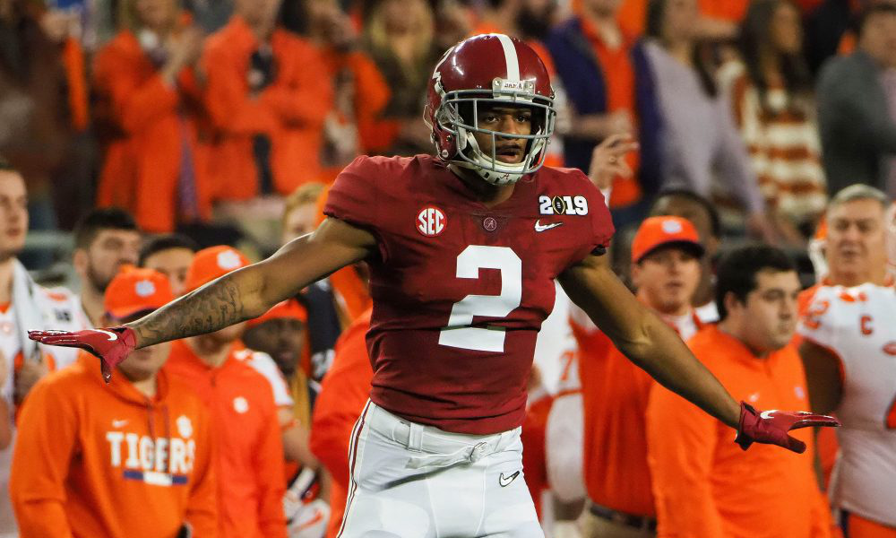 Patrick Surtain II on the field for Alabama during 2019 CFP title game versus Clemson