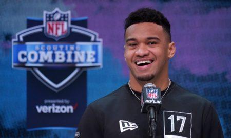 Tua Tagovailoa smiles during NFL Combine Interview