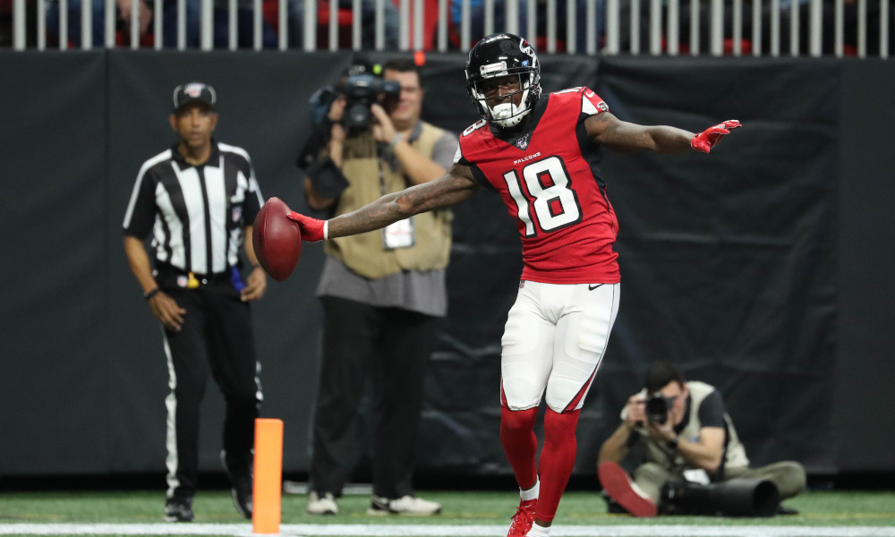 Calvin Ridley of the Atlanta Falcons scores a TD versus Carolina Panthers in 2019 season