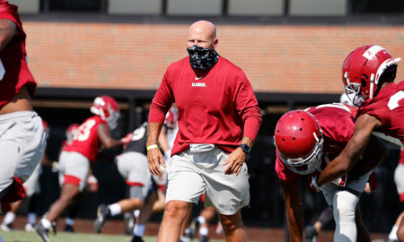 Charles Kelly, Alabama's safeties coach, working with his group at fall camp
