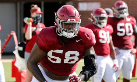 Christian Barmore in warmups for Alabama fall practice