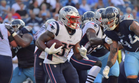 Damien Harris runs the ball for Patriots in 2019 NFL preseason game versus Titans
