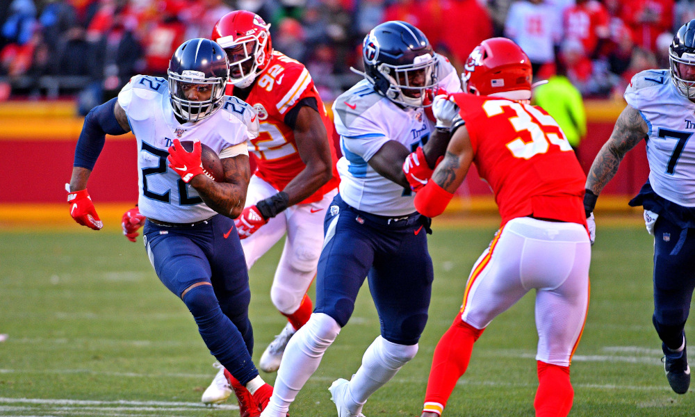 Derrick Henry of the Titans runs the football in 2020 AFC Championship Game versus Kansas City