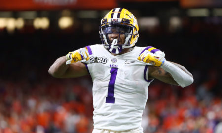 Ja'Marr Chase of LSU celebrates a TD versus Clemson in 2020 CFP National Championship Game