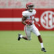 Jaylen Waddle returning a punt in Alabama's first scrimmage