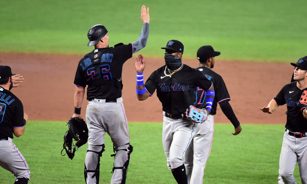 Miami Marlins celebrate fifth win of season versus Baltimore Orioles in 2020
