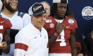 Nick Saban sideways hat