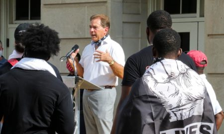 Nick Saban speaks following the teams march against racial injustice