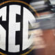 View of the SEC logo in Vanderbilt's locker room for 2019 game between the Commodores and Missouri Tigers
