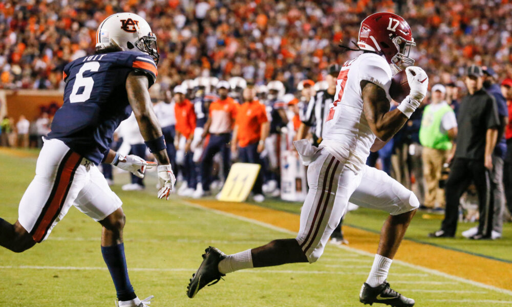 Jaylen Waddle with a touchdown catch for Alabama versus Auburn in 2019