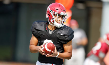 Bryce Young holds football at Alabama 2020 fall practice