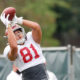 Cameron Latu with a catch at Alabama fall practice