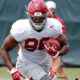 Carl Tucker runs with the ball in Alabama fall practice
