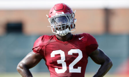 Dylan Moses looks on at Alabama's 200 fall camp