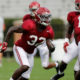 Dylan Moses running at Alabama's fall scrimmage