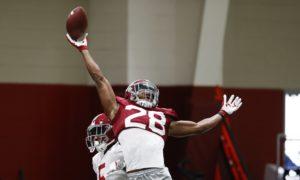Josh Jobe attempts to knock down a pass at Alabama Monday practice
