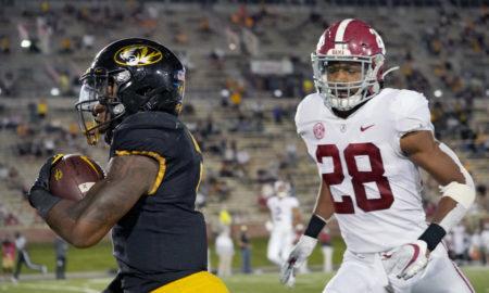 Josh Jobe (No. 28) of Alabama chasing Tyler Badie of Missouri as he scores a touchdown