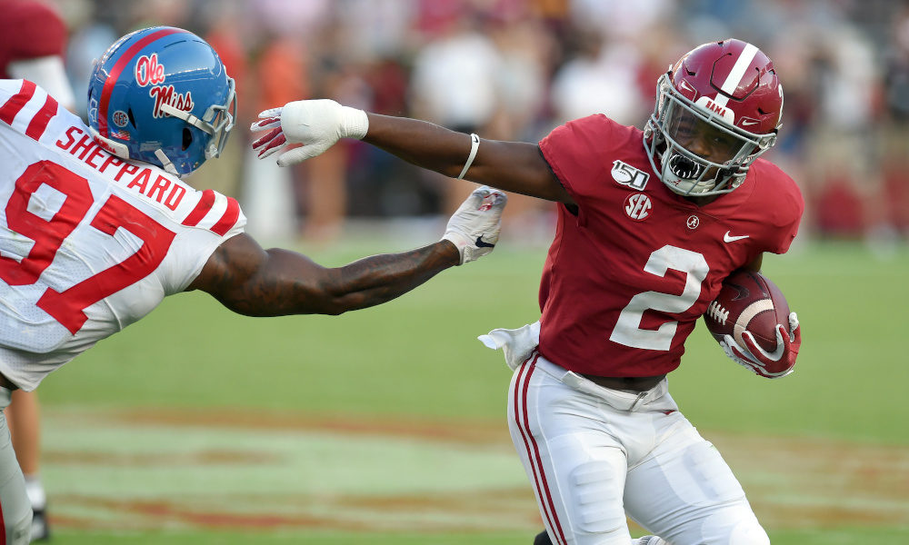 Keilan Robinson evades Mississippi defender in 2019 game at Bryant-Denny Stadium