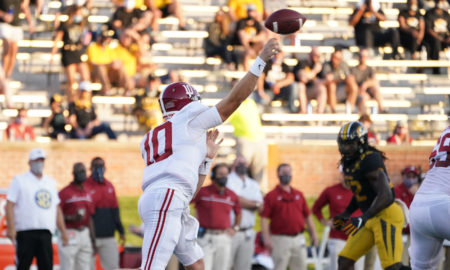 Mac Jones with a throw against Missouri