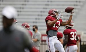 Malachi Moore catching pass in Alabama fall camp 9/5