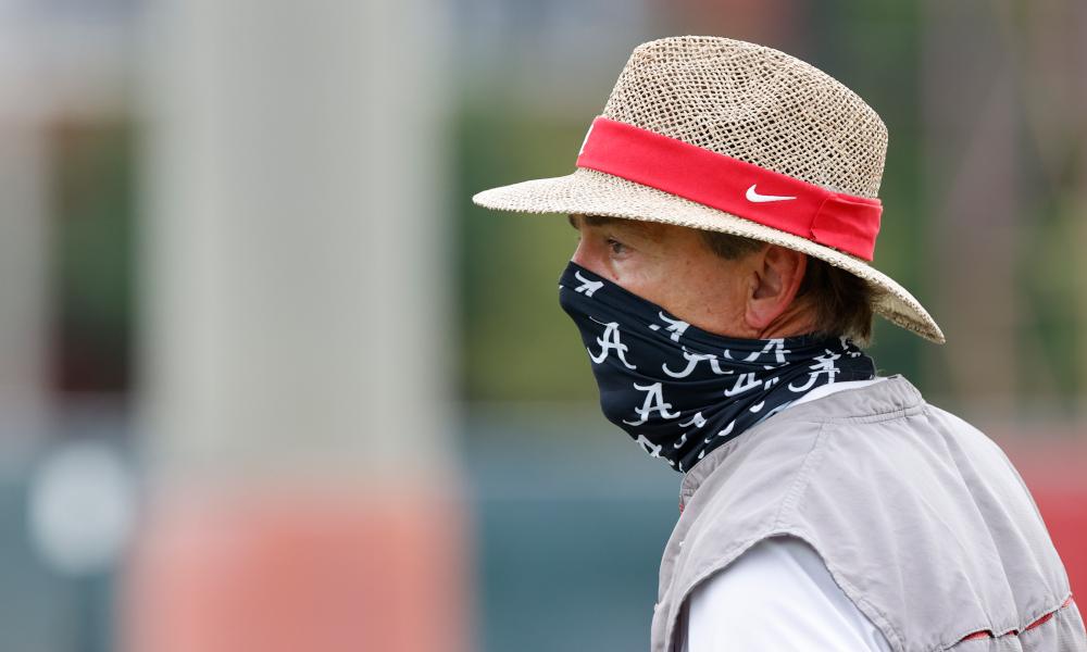 Nick Saban looks on at Alabama fall practice