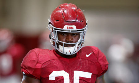 Shane Lee looks at camera during Alabama fall practice