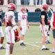 Steve Sarkisian looks on as Alabama's QB room practices for Missouri