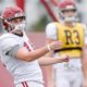 Will Reichard lines up a kick during Alabama practice