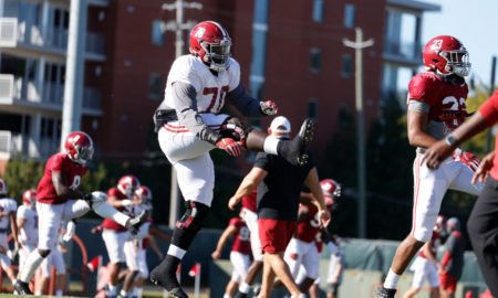 Alex Leatherwood at practice for the Crimson Tide