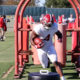 Brian Robinson performing running backs drills at practice for Alabama