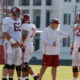 Offensive line coach Kyle Flood working with his group at practice for Alabama