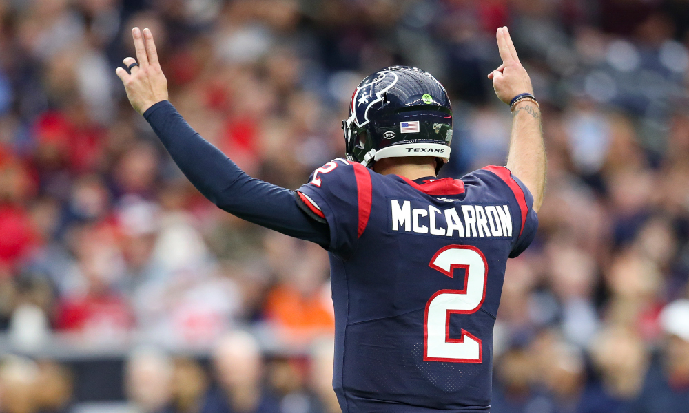 AJ McCarron celebrates touchdown pass for Texans
