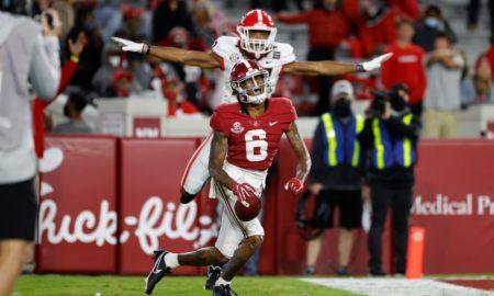 DeVonta Smith celebrates touchdown against Georgia
