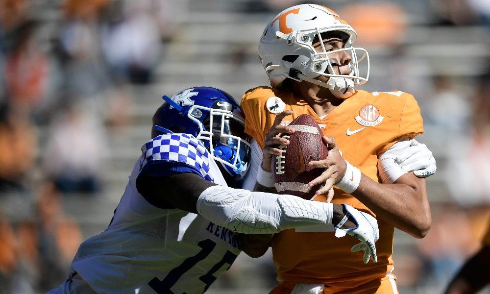 Jarrett Guarantano gets hit against Kentucky
