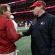 Kirby Smart and nick Saban shake hands before Alabama vs Georgia game